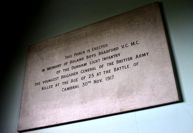 A plaque at Darlington Memorial Hospital dedicated to Brigadier-General Roland Boys Bradford