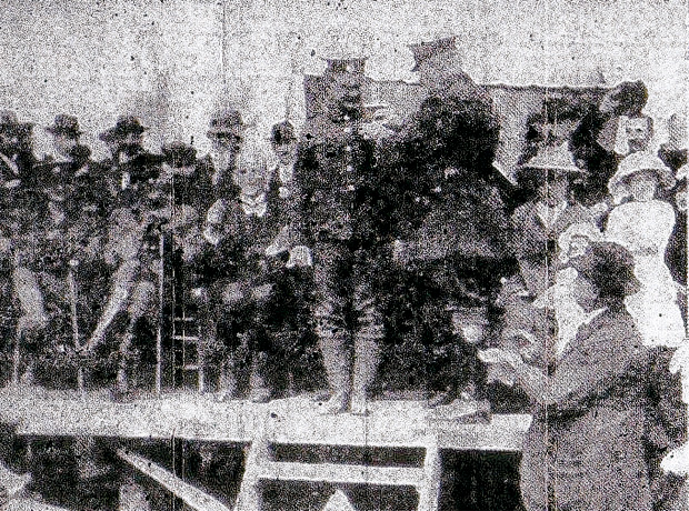 WELL DONE: L-Cpl Arthur Dixon receives his DCM from Colonel Tress, in Ferryhill Market Place