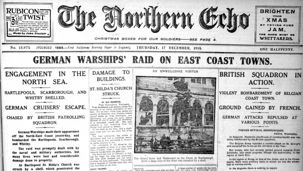 How the story was reported in The Northern Echo, December 17, 1914
