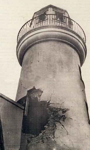 Scarborough lighthouse showing bomb damage