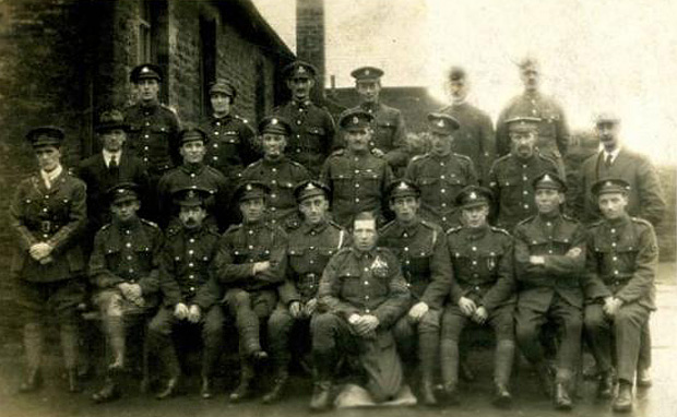 First World War soldiers lined up outside Westgate School in 1916